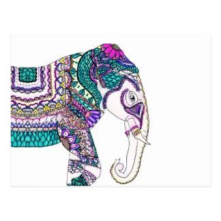 Éléphant tribal de henné d'aquarelle lumineuse de cartes postales