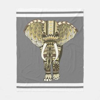 Éléphant tribal jaune et gris couverture polaire