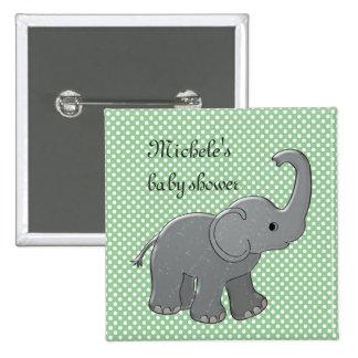 éléphant vert de baby shower pin's avec agrafe