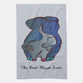 Éléphants affectueux 4 la meilleure maman par linge de cuisine