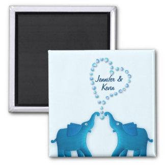 éléphants bleus magnet carré