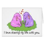 Éléphants dans la carte d'amour