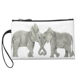 Éléphants dans l'amour pochettes avec anse