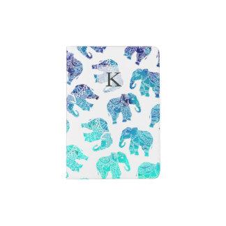 Éléphants d'aquarelle d'ombre de bleu de turquoise protège-passeports