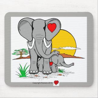 Éléphants d'art de coeur tapis de souris