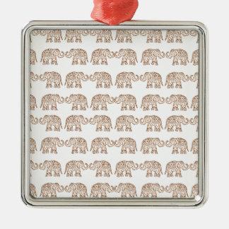 Éléphants d'Asie Ornement Carré Argenté