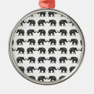 Éléphants d'Asie Ornement Rond Argenté