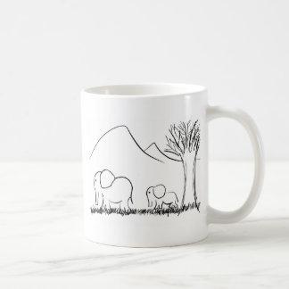 Éléphants de maman et de bébé mug