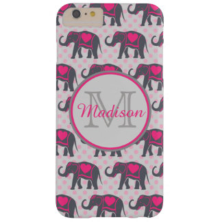 Éléphants de roses indien gris sur le pois rose, coque iPhone 6 plus barely there