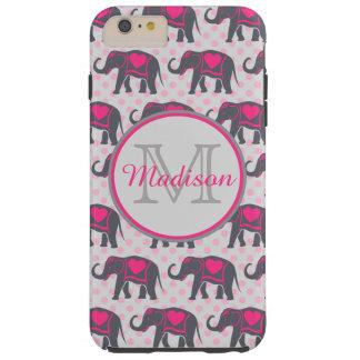 Éléphants de roses indien gris sur le pois rose, coque tough iPhone 6 plus