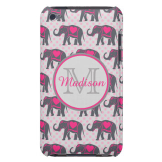 Éléphants de roses indien gris sur le pois rose, étui barely there iPod