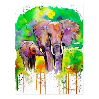 Éléphants de safari carte postale
