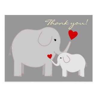 Éléphants en carte postale grise de Merci