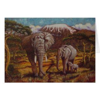 Éléphants et carte de remerciements de Kilimanjaro