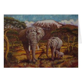 Éléphants et carte de voeux de Kilimanjaro