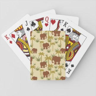 Éléphants et paumes dans le camouflage jeu de cartes