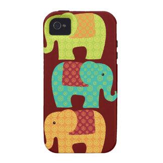 Éléphants ethniques avec des fleurs sur le rouge m coques iPhone 4/4S