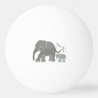 Éléphants gris de monogramme et olives élégants balle tennis de table