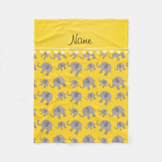 Éléphants gris jaunes nommés personnalisés couverture polaire