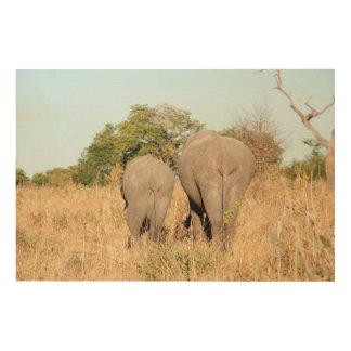 Éléphants marchant loin impression sur bois