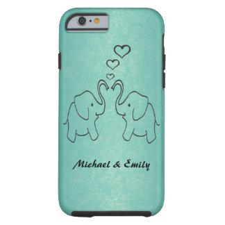 Éléphants mignons adorables dans l'amour coque iPhone 6 tough