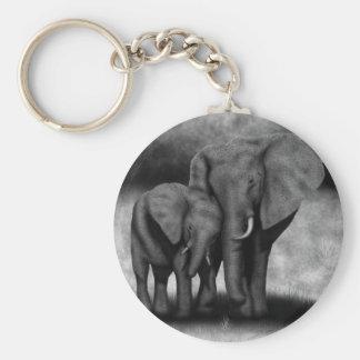 Éléphants Porte-clé Rond