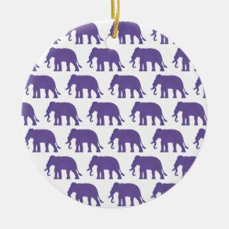Éléphants pourpres ornement rond en céramique