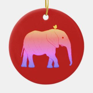 Éléphants ronds d'ornement de Noël Ornement Rond En Céramique