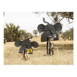 Éléphants sur des vélos carte postale