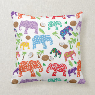 Éléphants tropicaux coussins carrés