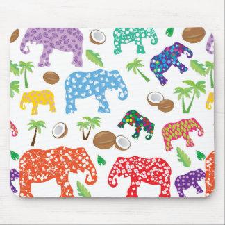 Éléphants tropicaux tapis de souris