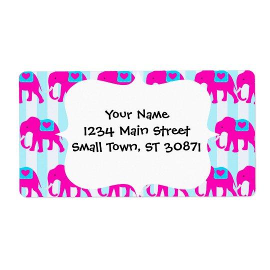 Éléphants turquoises de bleu de turquoise de roses étiquette d'expédition