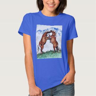 Élevage du T-shirt de bleu de dames de chevaux de
