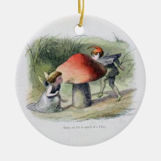 Elf à la recherche d'une fée, illustration de ornement rond en céramique