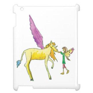 Elf avec un cheval jaune de poney d'Alicorn Coque Pour iPad