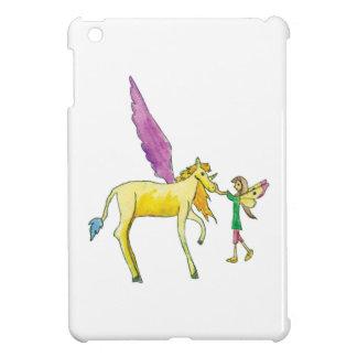 Elf avec un cheval jaune de poney d'Alicorn Coque Pour iPad Mini