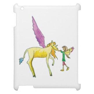 Elf avec un cheval jaune de poney d'Alicorn Étui iPad