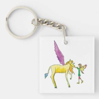 Elf avec un cheval jaune de poney d'Alicorn Porte-clefs
