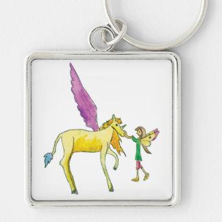 Elf avec un cheval jaune de poney d'Alicorn Porte-clés