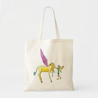 Elf avec un cheval jaune de poney d'Alicorn Sac Fourre-tout