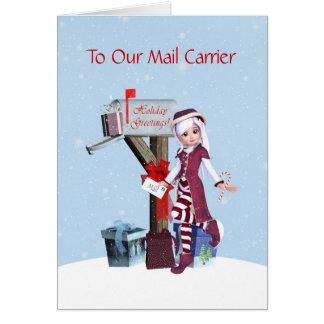 Elf et transporteur de courrier heureux de carte de vœux