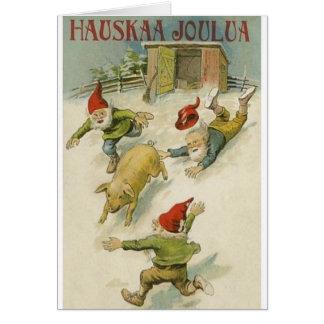 Elf finlandais vintage et carte de Noël de porc