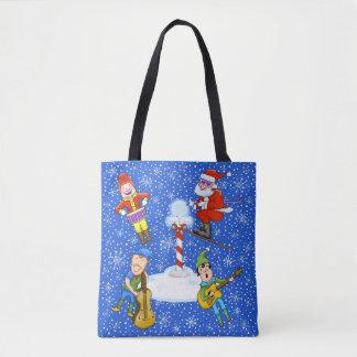 Elfes de musicien avec le sac fourre-tout à Noël