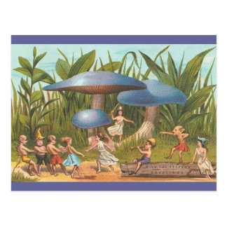 Elfes et fées en carte postale de terre de