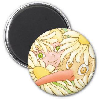 Elfleda et kiwi dans l'aimant de marguerites magnet rond 8 cm