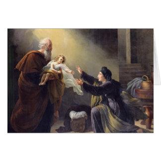 Élijah ressuscitant le fils carte de vœux