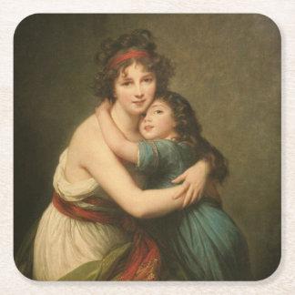 Elisabeth avec sa fille 1780-1819 dessous-de-verre carré en papier