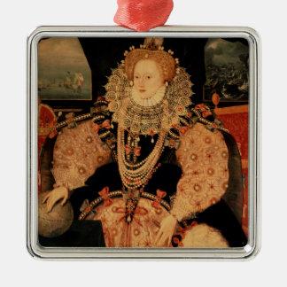 Elizabeth I, portrait d'armada, c.1588 Ornement Carré Argenté