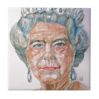 Elizabeth II - portrait d'aquarelle Petit Carreau Carré