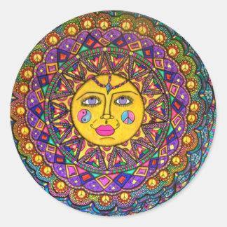 Elle a appelé Sunshine, autocollant, art hippie Sticker Rond